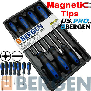 BERGEN Magnetic Screwdriver Set 7pc Slotted Straight Phillips PH Driver Tool Set
