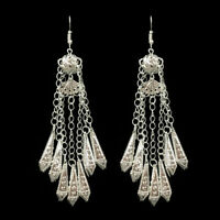 Charms Women's Ancient Bohemia Miao Silver Tassel Dangle Hook Vintage Earrings