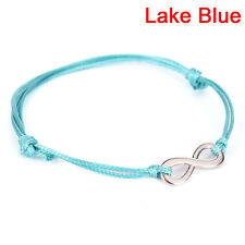 Antique Silver Infinity Colored Cotton Waxed Cord Friendship Love Bracelet N6t Navy Blue