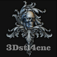 3D Model STL CNC Router Artcam Aspire Skull Furniture Decor Cut3D Vcarve