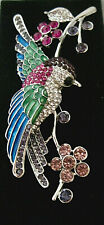 "EXQUISITE ""SWALLOW BIRD BROOCH"" FABULOUS COLORS & RHINESTONES-SILVER-BEAUTIFUL!"