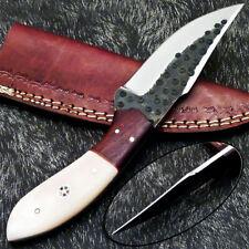 Custom Hand Forged Railroad Spike Carbon Steel Fixed Skinning Blade Knife - 1114