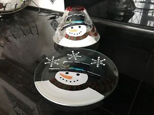 Yankee candle snowman shade and tray