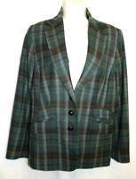 Pendleton Tartan Green Plaid Blazer 100% Virgin Wool Jacket Womens Size 10 Lined