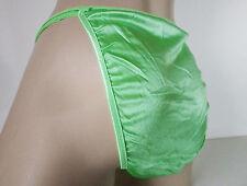 Sexy Lime Green Silky Nylon Satin String Bikini Panties Tanga Knickers UK20 3XL