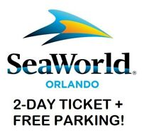 2 FREE SEAWORLD ORLANDO 2-DAY TICKETS + FREE PARKING **READ DESCRIPTION**
