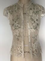 Elie Tahari Womens Lace Cap Sleeve Blouse Top White Ivory Green Gray Size XS