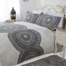 DOUBLE Duvet Set Charcoal Grey Stone White Ethnic Moroccan Circles Cotton Rich