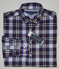 NWT TOMMY HILFIGER men's Casual Long Sleeve Shirt, L, Large, Burgundy, Plaids