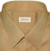 $800 NEW BRIONI CAMEL HERRINGBONE MENS HAND MADE DRESS SHIRT 44 17.5