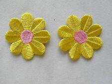 "#2879 Lot 2Pcs 1-5/8"" Yellow/Pink Daisy Flower Embroidery Iron On Applique Patch"