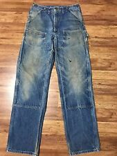 Mens Vtg Carhartt Distressed Denim Double Knee Suspender Jeans Pants 34 x 35 USA