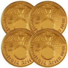 +++ 4 x 5 Reichsmark mit HK - 24 Karat vergoldet - 36/37/38/39 +++