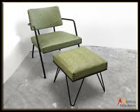 Vtg. 50s Mid Century Modern Tubular Steel w/ Green Chair & Hairpin Legs Ottoman