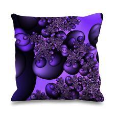 Fractal Circles Purple Faux Silk 45cm x 45cm Sofa Cushion