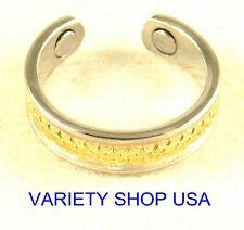 Alloy Ring Diamond Cut Silver and Gold Adjustable Band R038S