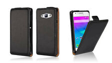 BLACK FLIP Premium Leather Case Cover For Samsung Galaxy J1 Ace