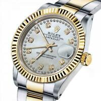 Men's Rolex 36mm Datejust Two Tone White MOP Mother of Pearl String Diamond Dial