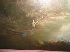 Hudson river school old antique signed painting by J.H. Tomas