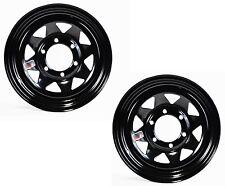 "Two Boat Trailer Rims Wheels 15"" x 6"" 15x6 6 Lug Hole Bolt Black Spoke Design"