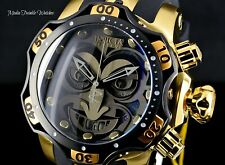 NEW 52MM Invicta Reserve VENOM JOKER DC SWISS Quartz Black & Gold Band Watch !