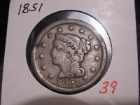1851 BRAIDED HAIR LARGE CENT F + VF NICE COMBINED SHIPPING