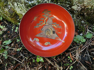 Japanese antique wooden small red bowl crane pine written gold