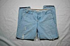 Women BIG STAR 13 Helix Boyfriend Distressed Light Wash Button Fly Jeans Sz 28