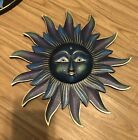 """3D SUN WALL DECORATION 13"""" Hand Carved & Painted NEW BLUE VTG"""