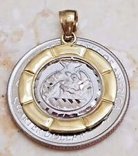 10k solid Pendant baptism bautiso real yellow white Gold round Charm