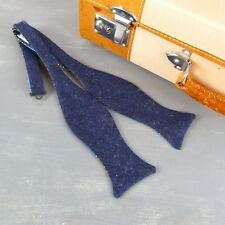 Handmade Eco Friendly Yorkshire Tweed and Silk Self Tie Bow tie - Navy