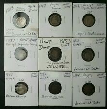 Lot of Nine 5c Seated Liberty Silver Half Dimes