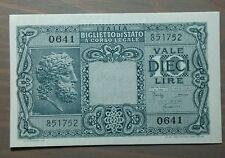 ITALIA 10 LIRE LUOGOTENENZA 25-11-1944 BOLAFFI CAVALLARO GIOV. FDS
