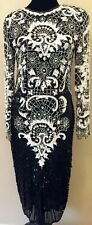 Swee Lo Womens Art Deco Evening Dress Small Black White Sequins Beads 100% Silk