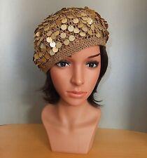 Elegante Ausgefallene Häkelmütze Strickmütze Barett Pailletten gold denim Hut