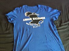 AX Armani Exchange Mens Blue Eagle Muscle Fit V Neck XL TShirt Good CONDITION