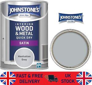 Johnstones 423319 Quick Dry Satin Manhattan Grey Interior Wood & Metal 0.75L