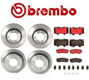 For Lexus GX470 Front and Rear Disc Brake Rotors Vented Ceramic Pads Kit Brembo