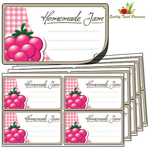 32 Large Raspberry Jam Jar Labels. Luxury Self Adhesive Stickers For Preserves