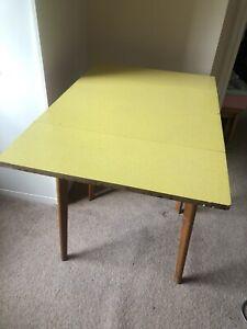 Vintage Retro Yellow Drop Leaf Table