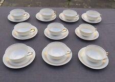 10 tasses à café ou à thé en porcelaine de limoges blanc et or