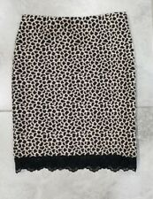 Soprano NWT Womens Mini Skirt Stretch Animal Print Size XS Black Lace Hem -404