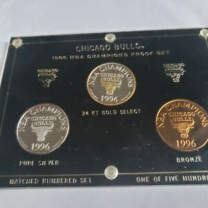 CHICAGO BULLS 95-96 .999 FINE SILVER ENVIROMINT ROUNDS 3 COIN PROOF SET 1/500