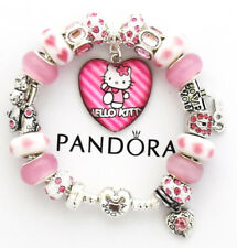 f787f449b Authentic Pandora Bracelet Heart Clasp Silver HELLO KITTY Pink European  Charms