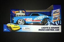 HOT WHEELS BLUE #68 CAR WITH LIGHTS & SOUNDS AND-RADIO REMOTE CONTROL RACE-CAR