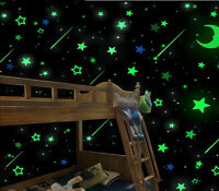 100pack Luminous Stars Fluorescent Stickers 3D Glow In The Dark Wall Stick TDO