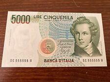 Solid # 555555 Italy 5,000 UNC 1985 Bellini Opera Composer