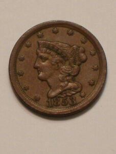 1853 Braided Hair Half Cent HIGHER GRADE near Uncirculated