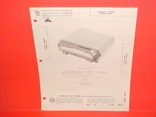 1959-1963 PHILIPS NORELCO AUTO CAR 45 RPM RECORD PLAYER SERVICE MANUAL AG2101