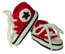BePe Baby Infant Booties - Crochet Sneakers - Red (0-6 Months)